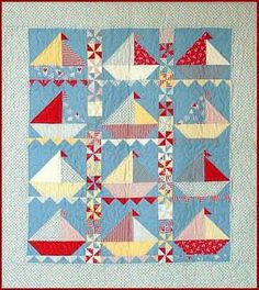 "such a cute baby quilt--love the half-square triangle ""waves"""