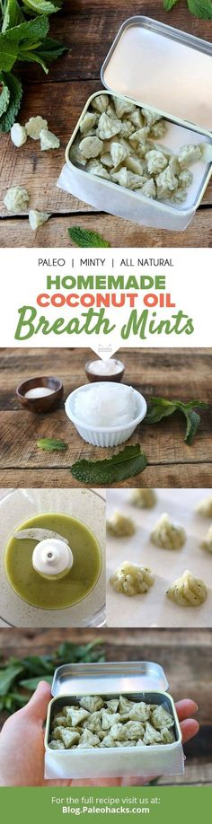 How to make homemade coconut oil breath mints Causes Of Bad Breath, Belleza Diy, Homemade Coconut Oil, Bad Breath Remedy, Paleo Recipes, Snacks Recipes, Natural Remedies, Holistic Remedies, Herbal Remedies