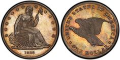 The finest PCGS-certified 1838 Gobrecht Dollar pattern (J-85), graded PCGS PR65, is among the Simpson Collection coins that will be on display at the January 2015 FUN convention. (Photo by PCGS.)