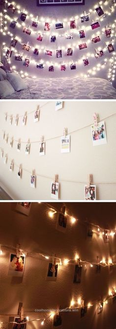 Adorable Polaroid Wall With String Lights | 24 DIY Teenage Girl Bedroom Decorating Ideas The post Polaroid Wall With String Lights | 24 DIY Teenage Girl Bedroom Decorating .. #girlsbedroom