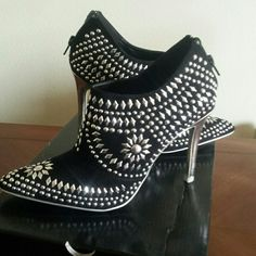 Shoes Black boot shoe, studded, suede like fabric, zipper up the back, 4' heel worn once SCENE by  Shoes Ankle Boots & Booties