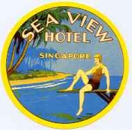 Sea View Hotel, where we had lunch on April 1953 :o Luggage Stickers, Luggage Labels, Vintage Luggage, Vintage Travel Posters, Vintage Suitcases, Vintage Hotels, Vintage Market, Singapore Travel, Singapore Singapore
