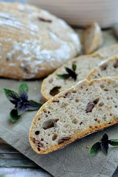 Artisan Sourdough Bread With Basil And Olives Stock Image - Image of cereal, home: 104949919 Kalamata Olives, Wooden Plates, Sourdough Bread, Baked Goods, Basil, Cereal, Rolls, Artisan, Treats