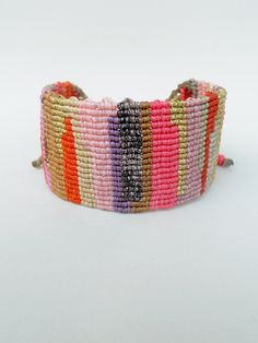 Patchwork style cuffMacrame bangle by LuckyRatJewellery on Etsy