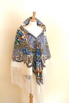 Russian Pavlovo Posad Wool Bohemian Oversized by Blue8Blue8Sky