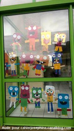 Chez Aude, les monstres ont des têtes sympathiques, des sourires édentés, certes, mais joviaux. Regardez-les vous faire signe à travers les... Art For Kids, Crafts For Kids, Arts And Crafts, 2nd Grade Art, Ecole Art, Art Plastique, Elementary Art, Little People, Halloween Crafts