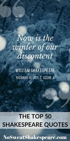 Now is the winter of our discontent, William Shakespeare, from Richard III, Act Scene A beautiful sentence meaning that our unhappiness is coming to an end. See more of Shakespeare's 50 most popular quotes at No Sweat Shakespeare. Othello Quotes, Macbeth Quotes, Poet Quotes, Quotable Quotes, Funny Quotes, Quotes Quotes, Famous Shakespeare Quotes, Literary Quotes, William Shakespeare