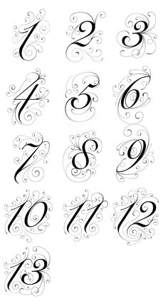 Table Numbers Typography on Behance Number Tattoo Fonts, Tattoo Lettering Styles, Number Tattoos, Retro Typography, Typography Alphabet, Graphic Design Typography, Birthday Typography, Japanese Typography, Typography Quotes