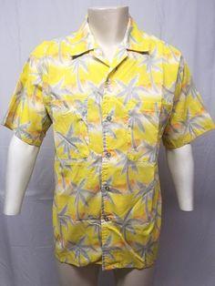 95785139 Vtg 80s TROPICANA Hawaiian Shirt Yellow Orange Gray Palm Trees Mens L -  NOS/NWOT