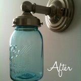 Lately we've had some great posts about mason jar lighting (like here and here). And you can't forget the cute Mason Jar Storage Solution. Recently I spotted this great idea; why get new light fixtures when you can easily update them with mason jars? Check it out after the jump.