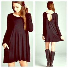 AVAILABLE  Black Pocket Swing Dress Sizes S, M and L. linsleppo2 Dresses