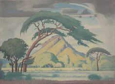 Bushveld landscape - JH Pierneef African Paintings, South African Artists, Van Gogh, Landscape Paintings, Artworks, Georgia, Heaven, Printing, Trees
