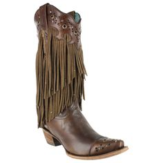 Corral Women's Fringe and Stud Snip Toe Western Boots = WEDDING BOOTS!