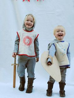 knights costume - grey hoodies look like chain mail! Clever!