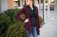 Carol Striped Open Cardigan 65% off at Groopdealz