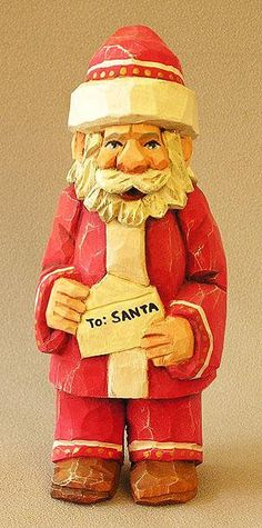 Santa Woodcarving Holding Letter to North Pole From ScottCarvings.com SA95 6 X 2.5