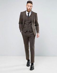 ASOS Slim Suit In Brown Harris Tweed Herringbone 100% Wool
