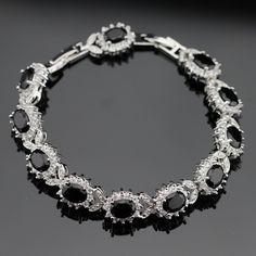 18cm 20cm Silver Color Chain Bracelets For Women Black Created White CZ Jewelry Free Gift Box