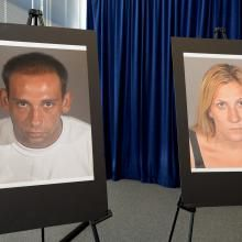 During a news conference Thursday, July 24, 2014, in Long Beach, Calif., police display photos of Gus Adams and Andrea Miller. Police said they're deciding whether to arrest an 80-year-old man who shot a fleeing, unarmed burglar--Miller--despite her telling him she was pregnant, but they have arrested the woman's accomplice--Adams--on suspicion of murder for taking part in a crime that led to her death. (AP Photo/Long Beach Press-Telegram, Sean Hiller)