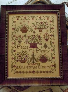 Blackbird Designs Sisters - Cross Stitch Pattern. A. Shields 1824 - stitched on 30 Ct. Creek Bed Brown linen with Gentle Art Sampler Threads (Banker's Grey, Bra