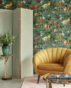 Eijffinger Museum 307305 - Behang | Behangwebshop.nl Bedroom Color Combination, Interior And Exterior, Interior Design, Photo Mural, Bird Wallpaper, Romantic Flowers, Elegant Homes, My Room, Museum