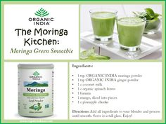 Try this Moringa Green Smoothie for a delicious blend of #superfood nutrition!   Moringa is considered one of the most complete, nutrientdense plants on Earth. Moringa is loaded with over 90 nutrients, 46 #antioxidants, abundant minerals, #protein, beta-carotene, Vitamin C, and a full amino acid profile!