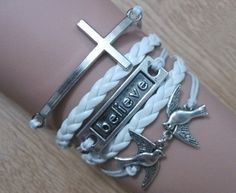 Hey, I found this really awesome Etsy listing at https://www.etsy.com/listing/155798786/cross-bracelet-believe-bracelet-birds