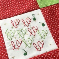 FaLaLa Holiday Table Runner - Includes 8 hand embroidery patterns, choose any 4 for make your project - Digital Pattern – JacquelynneSteves.com Quilting Tutorials, Quilting Projects, Sewing Projects, Hand Embroidery Patterns, Print Patterns, Christmas Words, Winter Quilts, Table Runner Pattern, Holiday Tables