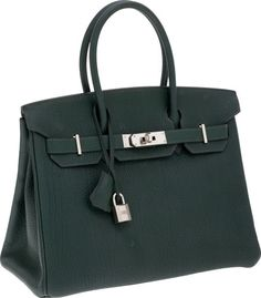 So pretty!!!!!!! Hermes 30cm Vert Fonce Fjord Leather Birkin Bag with Palladium Hardware
