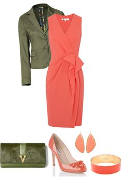 """Olive and Coral"" by divacrafts ❤ liked on Polyvore"