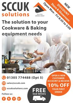 SCCUK Solutions discount store and showroom.  The Solution to your Cookware & Baking equipment needs.  We offer great discounts on bulk buy items. It's certainly worth popping along to our showrooms at Lynch lane, Weymouth DT4 9DN.  We are open to trade and the general public. No account needed to purchase.  Buy more for less at SCCUK!