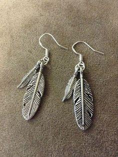 Tibetan Silver Dual Feather Hook Vintage Dangle Earrings - USA Fast Shipping #Dangle #feather #earrings