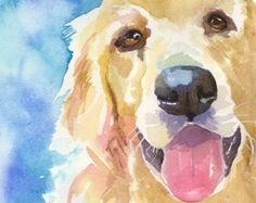 Golden Retriever Art Print of Original Watercolor Painting