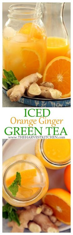 Get a little pick-me-up with Iced Ginger Green Tea. It's rich in antioxidants and detoxifying benefits that give a boost to your immune system. | detox drinks | | detox recipes | | fruit flavored green tea | | iced tea recipes | | clean eating | | healthy recipes |