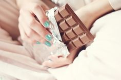 Chocolate and blue nails. :)