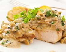 Turkey steaks with watercress sauce