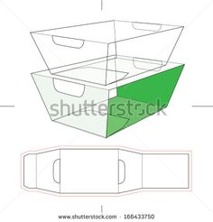 paper food tray template - tray box with blueprint layout stock vector illustration