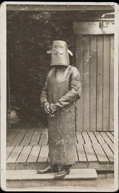 Radiology Nurse Technician in protective gear WWI France 1918 unknown photographer