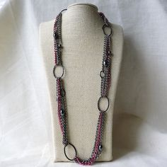 Long, Layered & Chunky Chain Necklace with Red Chain
