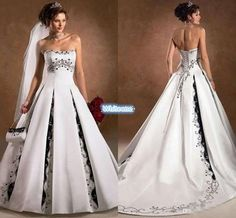 Vintage White And Black Wedding Dresses 2016 A Line Strapless Chapel Train Satin Corset Embroidery Sequins Custom Made Gothic Bridal Gowns Wedding Dresses Princess Wedding Lace From Whiteone, $141.84| Dhgate.Com