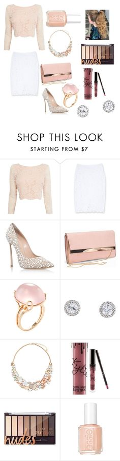 """""""Light pink look💗"""" by hannahboonana22 ❤ liked on Polyvore featuring Coast, Bebe, Casadei, New Look, Goshwara, Accessorize, Kylie Cosmetics and Essie"""