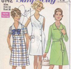 1960s Mini Dress Pattern Simplicity 8142 Size 16