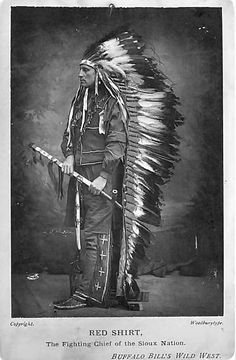 """Portrait of Red Shirt wearing eagle feather headdress and trailer and holding pipe. Type written note below photograph reads, """"Red Shirt, The Fighting Chief of the Sioux Nation. Native American Pictures, Indian Pictures, Native American Tribes, Native American History, Native Indian, Native Art, Red Indian, First Nations, Red Shirt"""