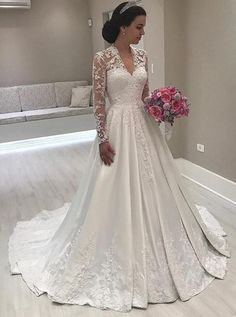 Princess Long Sleeve V-Neck Wedding Dress 2019 Lace Bridal Gowns wedding gowns 2019 - Wedding Gown Retro Wedding Dresses, V Neck Wedding Dress, Affordable Wedding Dresses, Applique Wedding Dress, Princess Wedding Dresses, Gown Wedding, Lace Wedding, Wedding Church, Mermaid Wedding