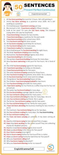 English Grammar Tenses, English Grammar Worksheets, Learn English Grammar, Learn English Words, English Language Learning, English Vocabulary, Present Perfect Sentences, English Tenses Chart, Perfect Tenses