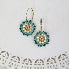 Colorful Beaded Goldfilled 14k  Hoops, Girls Earrings, Unique swarovski pearl Hoops, gift for girls, sweet 16 jewelry, Turquoise hoops
