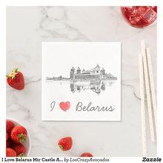 I Love Belarus Mir Castle Architecture Мирский Napkins Party Items, Place Cards, Napkins, Castle, Place Card Holders, Architecture, My Love, Party Stuff, Arquitetura