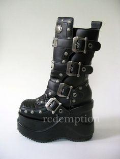 Demonia Outlaw 5 Platform Matte Black Gothic Buckle Calf Boots 8 | eBay