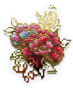 Heng Lee  Brooch: Floral Embroidery- Pixel 3.7 2012  Mixed media