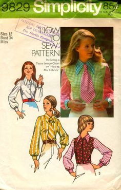 Womens Blouse and Tie Simplicity 9829 by ErikawithaK Sewing Blogs, Collar And Cuff, Clothes Horse, Vintage Sewing Patterns, Types Of Shirts, Blouses For Women, Contrast, Vintage Fashion, Tie